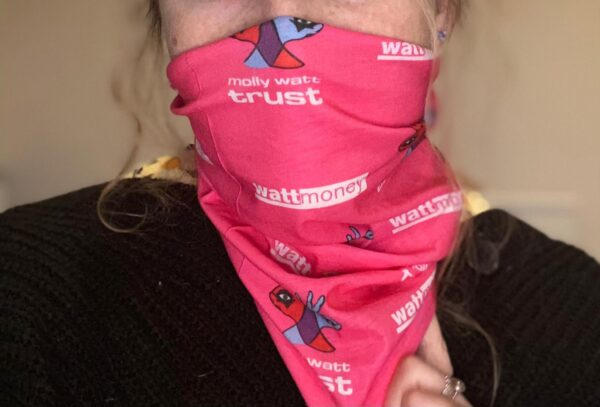 Pink snood face covering branded with Molly Watt Trust