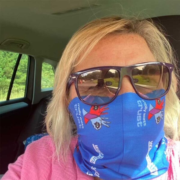 Snood face covering branded with Molly Watt Trust